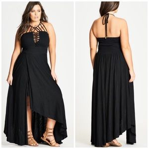 NWT City Chic Plait Detail Halter Maxi Dress